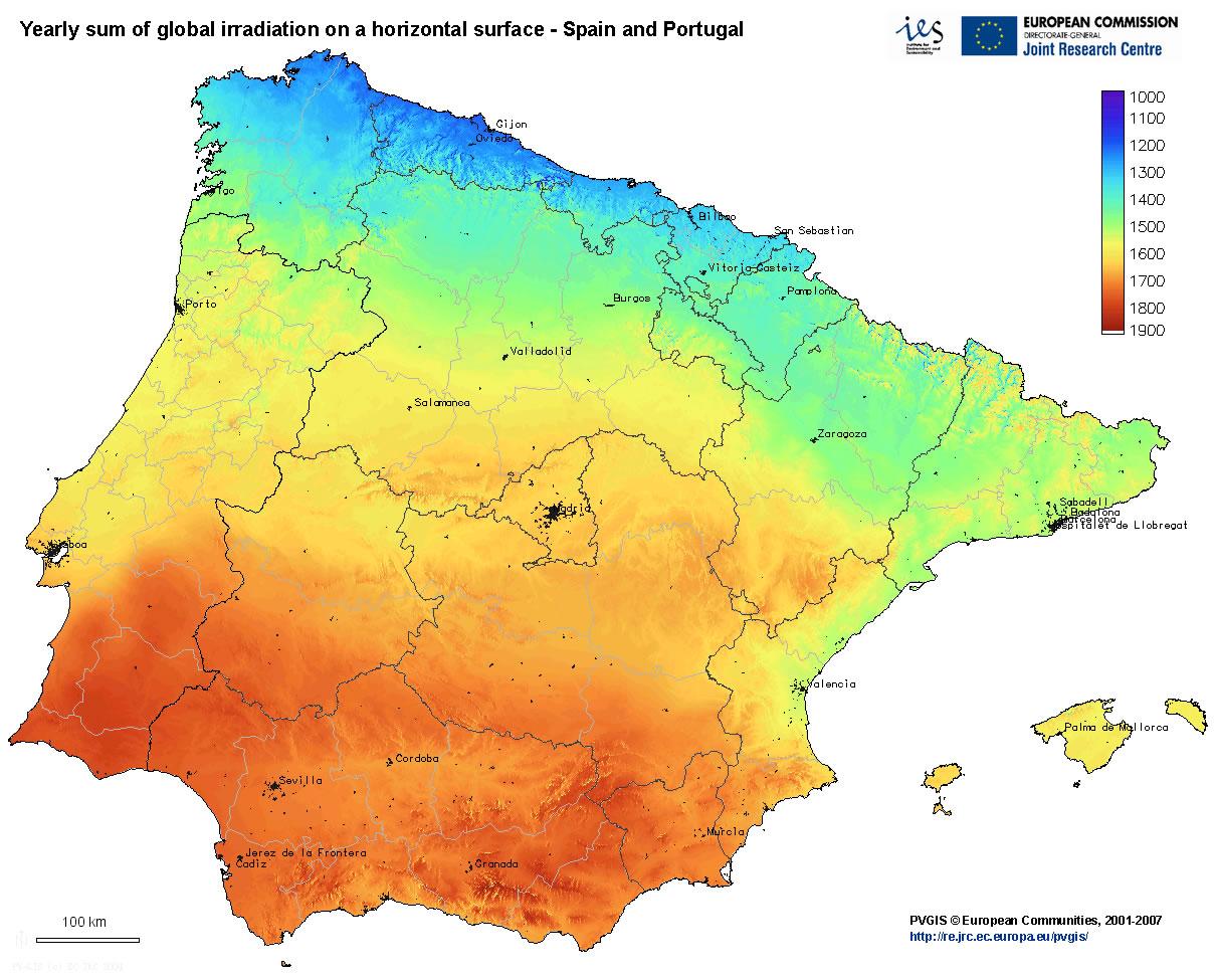 Mapa De La Radiacion Solar En Europa Paneles Solares